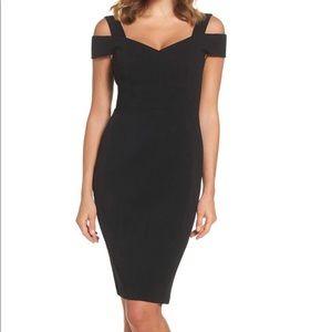 Eliza J Cold Shoulder Black Cocktail Dress